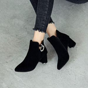 WARORWAR新品YM29-2908A秋冬欧美磨砂反绒粗跟高跟女士靴子短靴