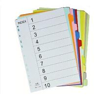 易利丰彩色纸质分页纸 索引纸 A4 页分类纸 隔页纸 1-5 5页价钱