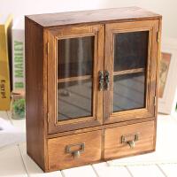 实木做旧复古桌面收纳柜储物柜玻璃抽屉式杂物收纳箱盒
