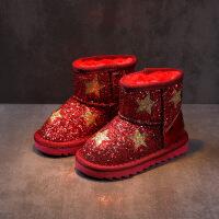 №【2019新款】冬天小朋友穿的女童雪地靴2018新款儿童短靴中大童棉鞋女孩加绒靴