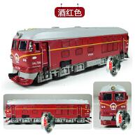 东风火车头仿真合金模型声光回力古典绿皮火车模型儿童玩具车 红色