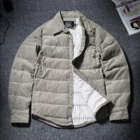 轻薄款羽绒衬衫男士冬季加肥加大码胖子宽松鸭绒休闲保暖衬衣外套