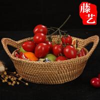 藤编桌面收纳筐零食糖饼瓜子筐水果盘面包盆茶具篮文具盒手工