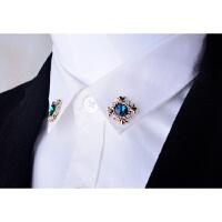 2018 新款韩版水晶胸针胸花个性十字架小领针领扣女衬衫衣领夹男别针饰品潮性感潮流