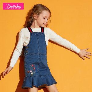 【3折价:74】笛莎童装女童中大童背带裙2019春季新款儿童纯色女童牛仔背带裙