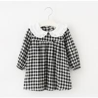 韩版春季新款童装女童黄色黑白格子连衣裙娃娃领长袖棉麻裙纯棉