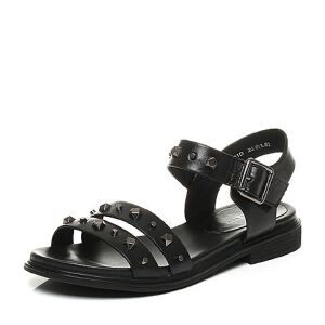 Teenmix/天美意夏专柜同款牛皮朋克风铆钉方跟女凉鞋AO931BL7