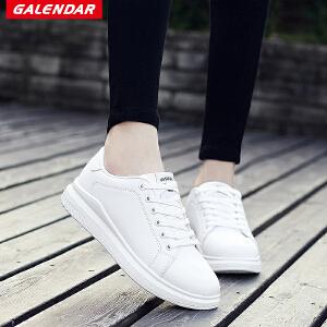【限时特惠】Galendar情侣板鞋2018新款男女同款百搭时尚平底系带板鞋校园小白鞋XCZ8806