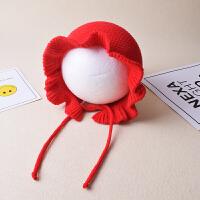 婴儿毛线帽子秋冬季儿童宫廷系带公主包头帽保暖女宝宝护耳针织帽yly 均码