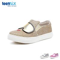 百丽天美意teenmix童鞋18新款儿童皮鞋闪亮格力特女童时装鞋女孩平板休闲鞋(5-10岁可选) DX0333