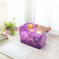 滑轮塑料整理箱储物收纳箱加厚加盖衣服卫浴杂物收纳盒 三色混装