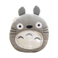 创意卡通可视暖手捂抱枕毛绒玩具学生可插手玩手机可爱萌女生玩偶 深灰色 可视龙猫