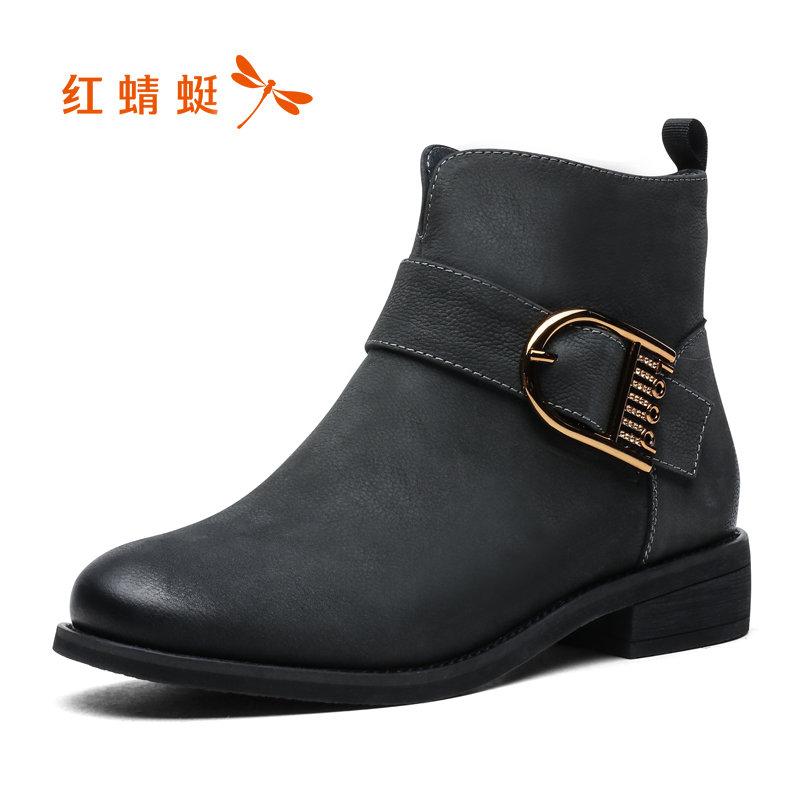 【领劵下单立减150】红蜻蜓短靴女冬季新款英伦真皮短筒低跟加绒女靴切尔西靴