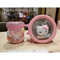 可爱HelloKitty儿童保鲜饭盒水果盒学生锈钢密封便当盒水杯 粉色一套 配小号碗