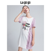 【5折价109.5】Lagogo/拉谷谷2018年夏季新款字母印花撞色拼接连衣裙HALL313Q32
