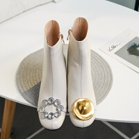 灰色短靴女米白色短靴女单靴金属装饰水钻粗高跟女靴马丁靴灰色女靴秋冬新款hgl 米白色 单里跟高8厘米