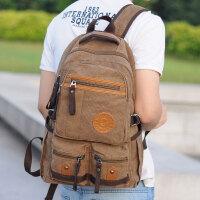 学院风男士双肩包韩版潮流设计书包中学生帆布休闲电脑背包旅行包 咖啡色