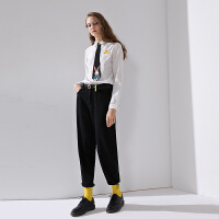 【春夏新品】初语2020春装新款衬衫女棉刺绣polo领设计感小众长袖薄款衬衣上衣