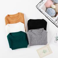 男童女童针织打底衫长袖童装秋冬中小童百搭小童修身套头毛衣