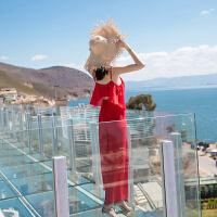 红色吊带连体裙裤连体裤女夏20新款 海边度假沙滩裤裙阔腿裤 红色