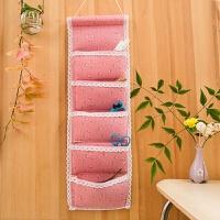 布艺悬挂式长方形收纳挂袋墙上挂式多层整理壁挂棉麻布挂兜收纳袋 尺寸:68*20.5CM