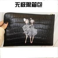 女士包包春季新款韩版潮时尚百搭手拿包女包手包印花手提包信封包SN9414