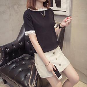 夏季冰丝针织衫女T恤衫短袖休闲短款打底衫女装上衣韩版百搭体恤
