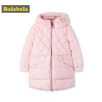 巴拉巴拉女童外套2018新款冬季大童儿童羽绒服鸭绒韩版时尚毛领厚