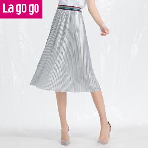 Lagogo/拉谷谷2018年夏季新款时尚松紧腰风琴褶半裙HABB333Y33