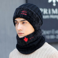 冬季男士帽子韩版潮时尚青年毛线帽保暖针织冬天防寒棉帽户外骑车 套装(帽子+围脖)