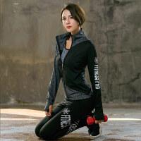 韩版秋冬季新款瑜伽服套装女长袖修身立领外套运动休闲跑步健身服