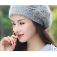 新品百搭双层加厚个性针织贝雷帽保暖兔毛线帽子女韩版潮