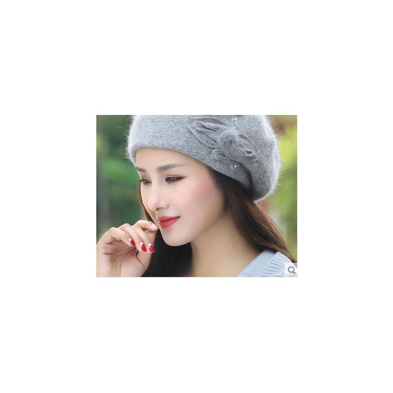 新品百搭双层加厚个性针织贝雷帽保暖兔毛线帽子女韩版潮 品质保证 售后无忧 支持货到付款