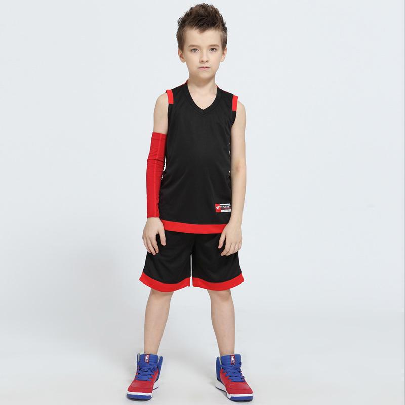 新款儿童篮球服套装男女童小学生定制篮球衣DIY运动队服训练服夏-网 上黑底红 16码110-130cm 发货周期:一般在付款后2-90天左右发货,具体发货时间请以与客服协商的时间为准