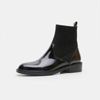 春秋款漆皮小短靴平底圆头黑色马丁靴英伦粗跟及踝靴毛线袜靴女鞋 黑色/漆皮 单靴