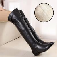 2018秋冬新款过膝长靴女靴平跟显瘦长筒皮靴平底真皮高筒靴女靴子SN1880