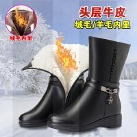 真皮靴子女2018新款冬季加绒加厚平底中筒靴小坡跟中年妈妈棉靴SN2905