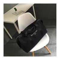 男女款帆布旅行包新款韩版字母印花旅行大包大容量手提单肩斜挎包SN9975 黑色 白字 大