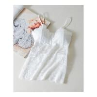 白色吊带背心长款蕾丝带胸垫抹胸打底内衣女可外穿美背裹胸防走光 均码
