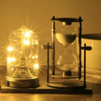 复古做旧巴黎铁塔夜灯创意旋转沙漏计时器书桌摆件圣诞节儿童礼物