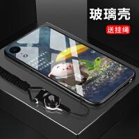 iphone xr手机壳可爱小猪猪钢化玻璃壳防摔手机保护套 iphone xr打伞猪