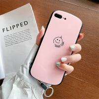 椭圆镜面苹果6splus手机壳8plus钢化玻璃iPhoneX好运笑脸ipone7情侣女xs max 粉色 ip7/8