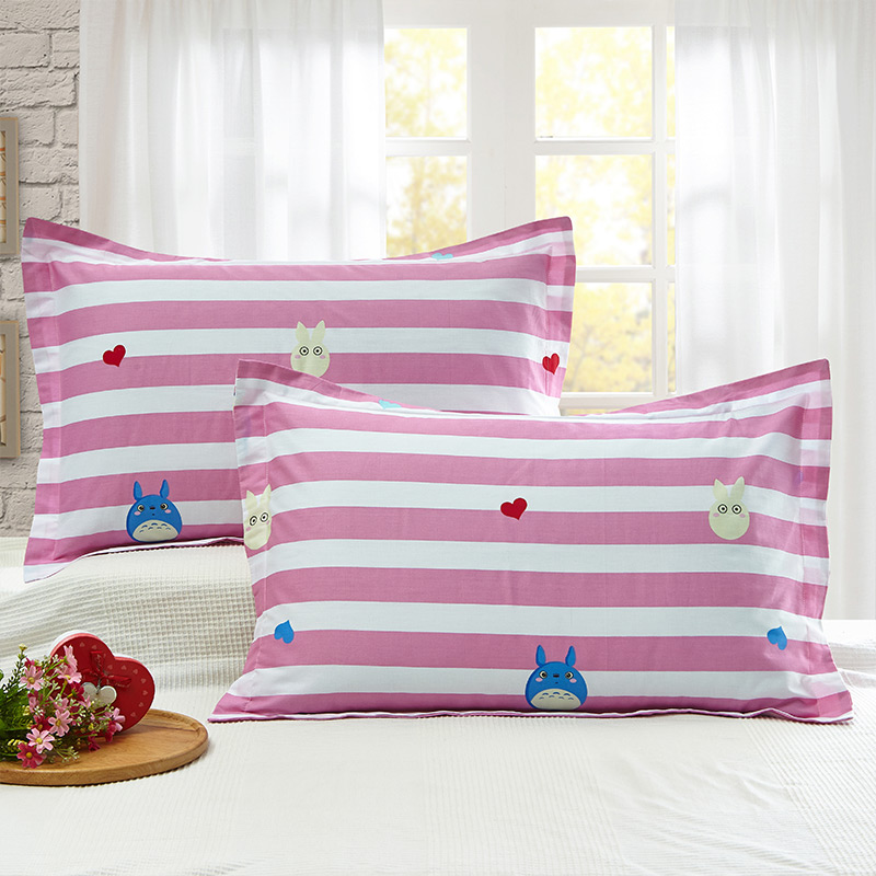 当当优品 纯棉斜纹印花枕罩 48*74 对装 俏皮龙猫当当自营 100%纯棉 无甲醛 柔软舒适 透气性好 2个装
