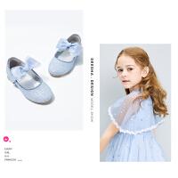笛莎女童小皮鞋2021新款夏季洋气儿童软底高跟女孩公主蝴蝶结鞋子
