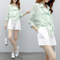 2018新款套装韩版时尚条纹上衣短裤两件套套装女 图片色