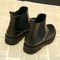 黑色小短靴女2018春秋新款女鞋冬季切尔西平底英伦风靴子短筒加绒SN9908 黑色 单里