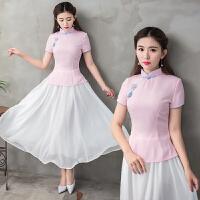 民国风短袖旗袍上衣 夏装新款唐装上衣 中式女装茶服修身日常汉服