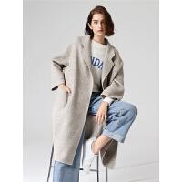 初语格纹毛呢外套女春季新款小个子长款七分袖格子呢子大衣