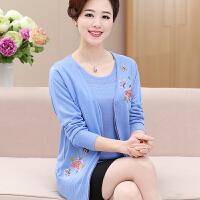 2017秋装中老年女装短袖两件套中年妈妈装夏装套装40-50岁针织衫