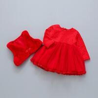 女宝宝加绒连衣裙冬装1-3岁女童洋气公主裙2百日周岁生日礼服裙子 红色